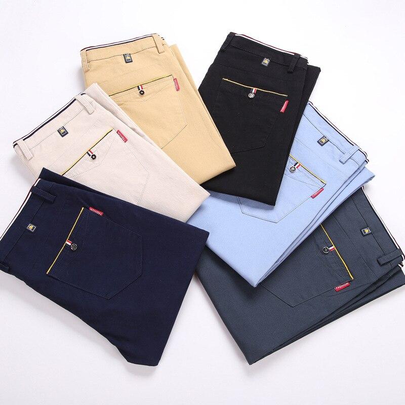 GEJIAN Men's Straight Cotton Casual Pants Fashion Slim Solid Color Elastic Pants Loose Plus Size Pantalones Hombre Trousers Men