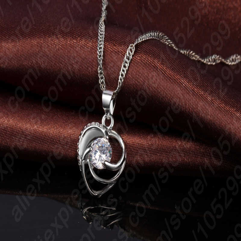 Top Quality 925 Sterling Silver Wedding Jewelry Set Necklace Earrings For Women Crystal Heart LOVE Anniversary Gift