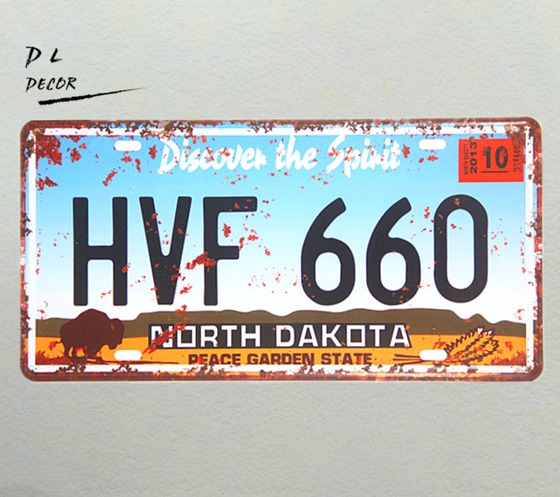 DL-HVF 660 Vintage License plate, Rustic, Metal, Tin Sign for the Garage/Man Cave Home wall sticker