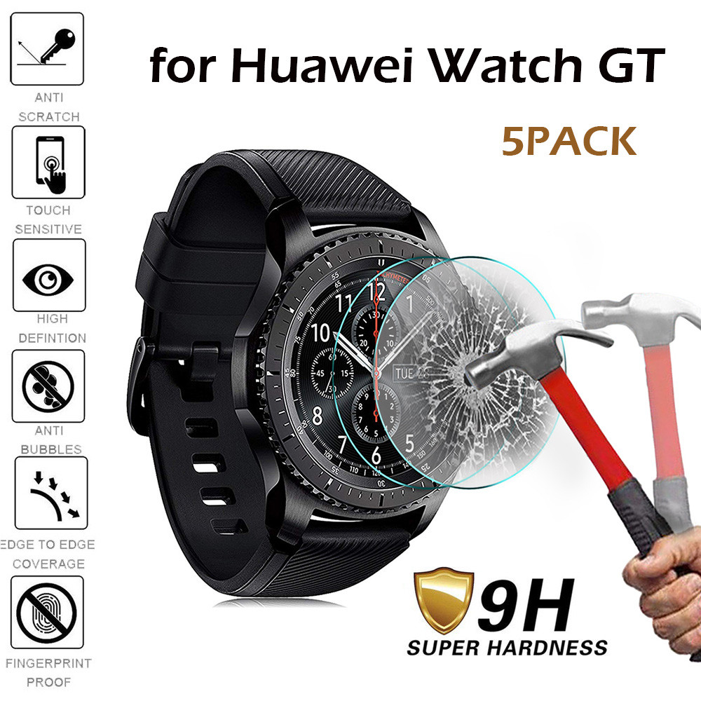 5pcs Tempered Glass For Huawei Watch GT Screen Protector Film Smartwatch Protective Glass Bubble Free Scratch Explosion Proof