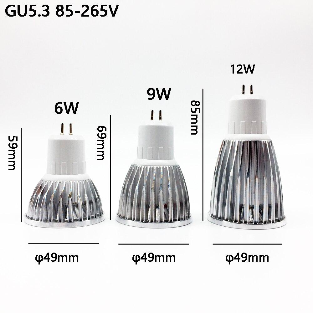 Купить с кэшбэком Led Cob Spotlight  GU5.3 Led MR16 New High Power MR 6 12V GU 5.3 220V Dimmable Warm Cool White  Bulb Lamp COB 6w 9w 12w Lampada