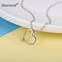 Mystic Taş ile 925 Gümüş Hollow Kalp Kolye Kolye Minimalist Aşk Kalp Kolye Sevgililer Günü Hediyesi P6015B