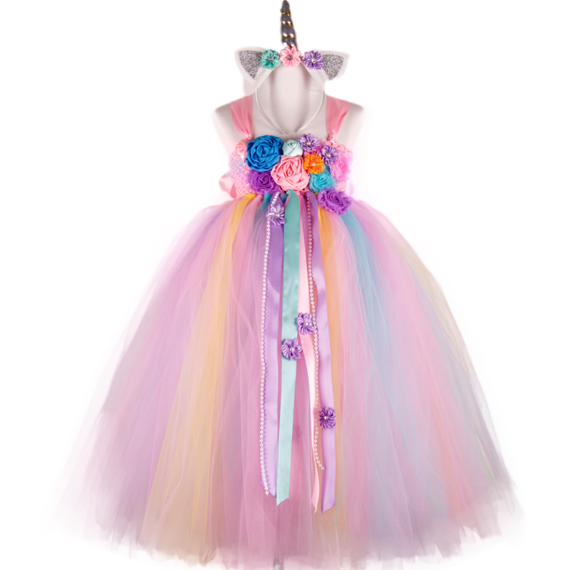 POSH DREAM Flower Colorful Unicorn Kids Girls Tutu Dress Unicorn Girls Birthday Dress Unicorn Horn Halloween Costume Outfit