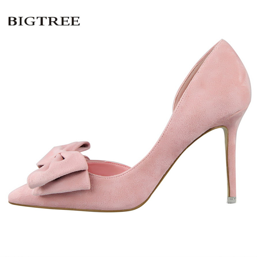 BIGTREE Spring Sweet Pumps Women High-heeled Shoes Thin High Heel Sweet Pointed Suede  Hollow Bowknot Women's Bow Shoes G519-1 bigtree spring autumn simple sweet women pumps shallow mouth suede ol pointed hollow 10 5 cm fine high heels shoes