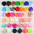 Ribbon Rolled Fabric Rose Hair Flower Center For Baby Girls Hair Accessories Hand Craft DIY 4cm 40colors 50pcs/lot