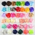 Tela Rosa Flor Del Pelo cinta Rodó Centro Para Bebés Pelo Accesorios Arte de la Mano de BRICOLAJE 4 cm 40 colores 50 unids/lote