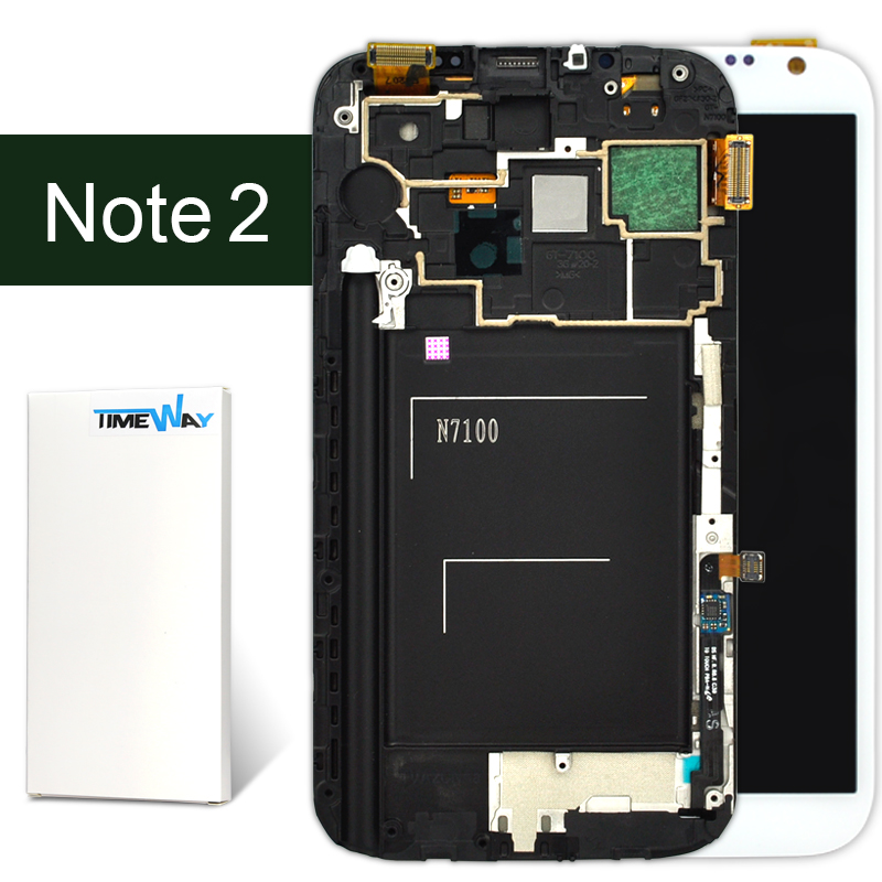 ФОТО DHL 5pcs 1000% original AMOLED Full LCD Display+Touch Screen +frame  Assembly For samsung note 2 N7100