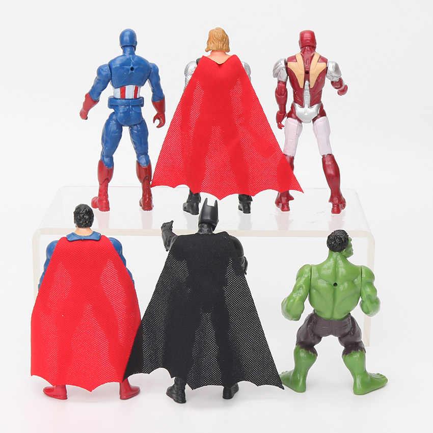 6pcs 10.5cm מארוול צעצועי נוקמי איור סט גיבור באטמן Thor האלק קפטן אמריקה פעולה איור אסיפה דגם בובה