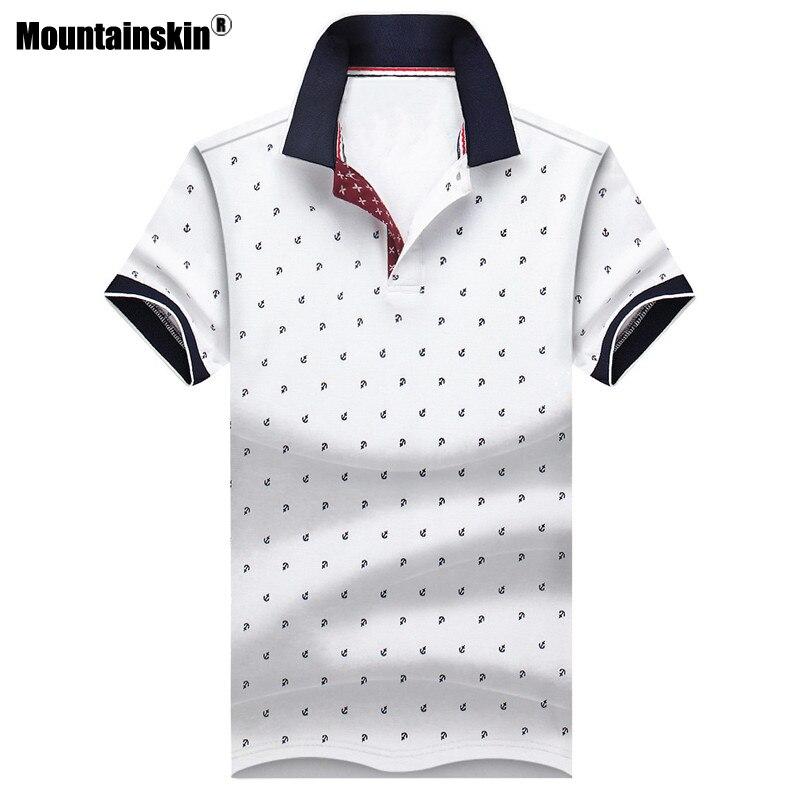 Mountainskin Men's Tops Summer Tees Cotton Printed Shirts Mens Brand Clothing Short Sleeve Camisas Stand Collar Male Shirt SA619