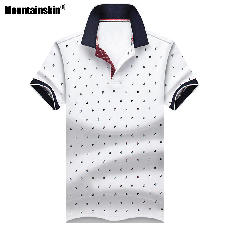 Mountainskin Men's Tops Summer Tees Cotton Printed Shirts Mens Brand Clothing Short Sleeve Camisas Stand Collar Male Shirt SA619