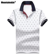 Mountainskin Men's Tops Summer Tees Cotton Printed Shirts Mens Brand Clothing Short Sleeve Camisas Stand Collar Male Shirt SA619(China)