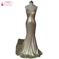 Mermaid Long Gold Sequins Evening Dress Fashion Style Backless Formal Evening Gown Prom Dresses Vestido De