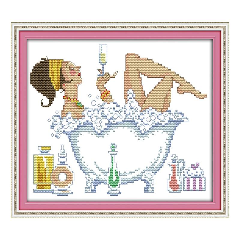 ⑧Joysunday contó crossstitch DIY baño belleza Mujer DMC14CT11CT ...