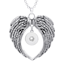 1PC Angel Wing Snap Button Pendant Jewelry for 18MM / 20MM Snap Button Charms Rhinestone Buttons Pendant Snap Necklace ND048