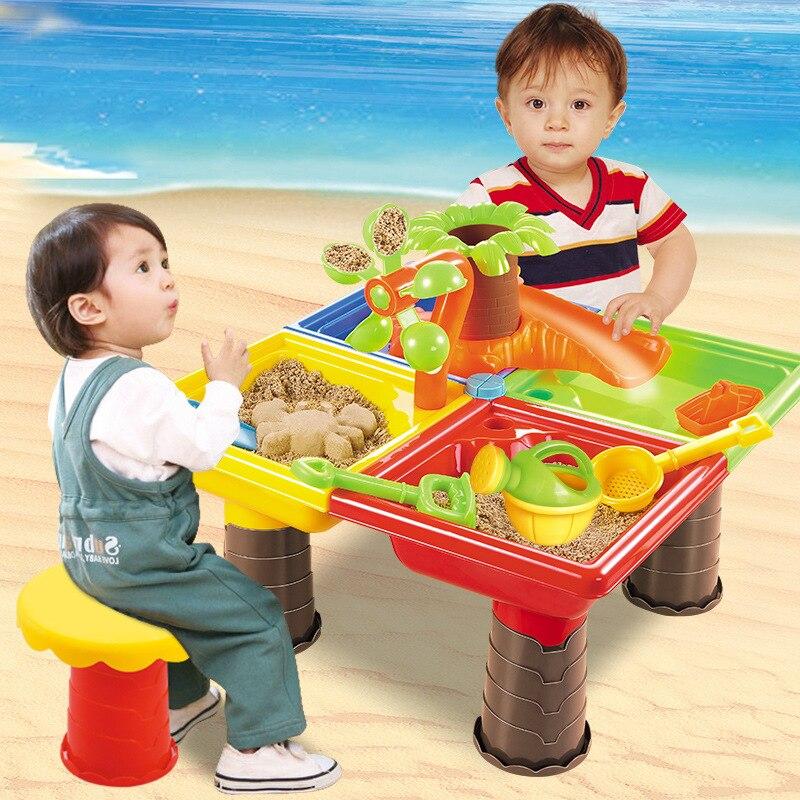 Été 2018 Table de plage pour enfants en vente directe, ensemble de piscine de sable, grands outils de dragage d'eau et de sable pour bébé, jouets de sable et