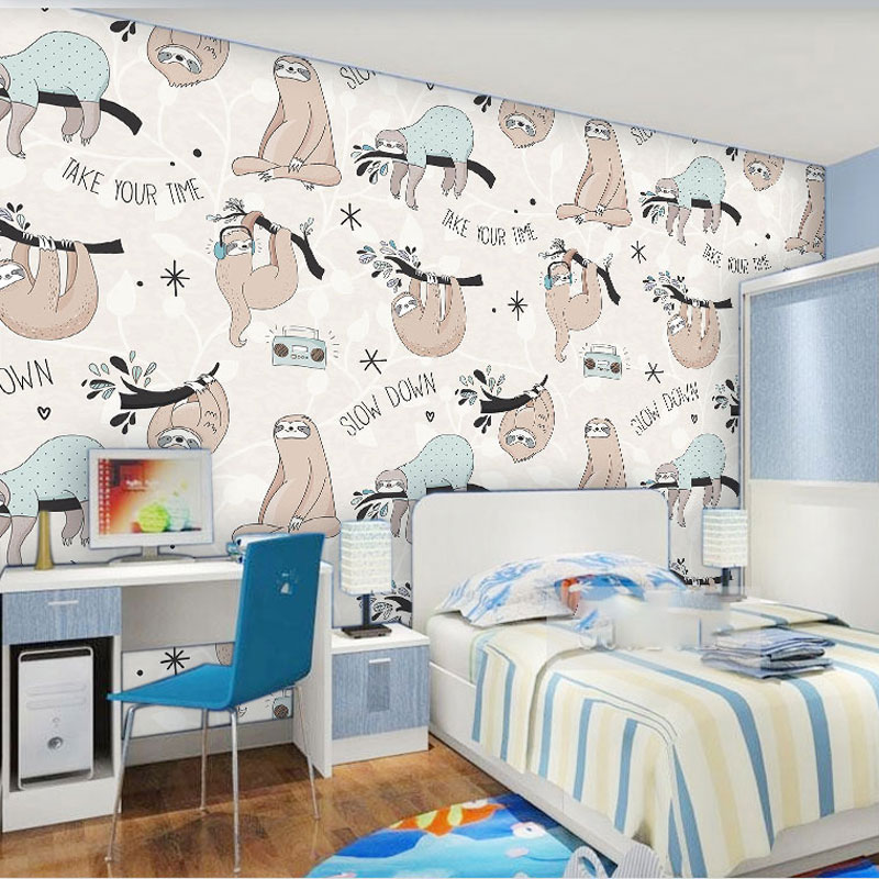 Cartoon Sloth Animal Children Wallpaper 3d Kids Room Self Adhesive Wall Cloth Stickers Mural Home Decor Wall Paper Roll 60*280cm can customized cartoon dream animal fairy tale girly kids room large 3d mural wallpaper wall paper fresco dinning room bedroom