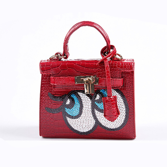 Famous Brand Korean Style Women Fashion Handbag Designer Handbags Cartoon Character Eyes Inexpensive Leather Bags Shoulder