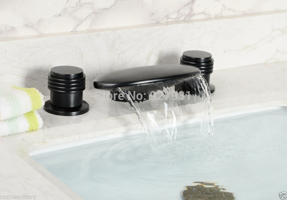 Widespread Bathroom Vessel sink Faucet Oil Rubbed Bronze Basin Sink Mixer Tap