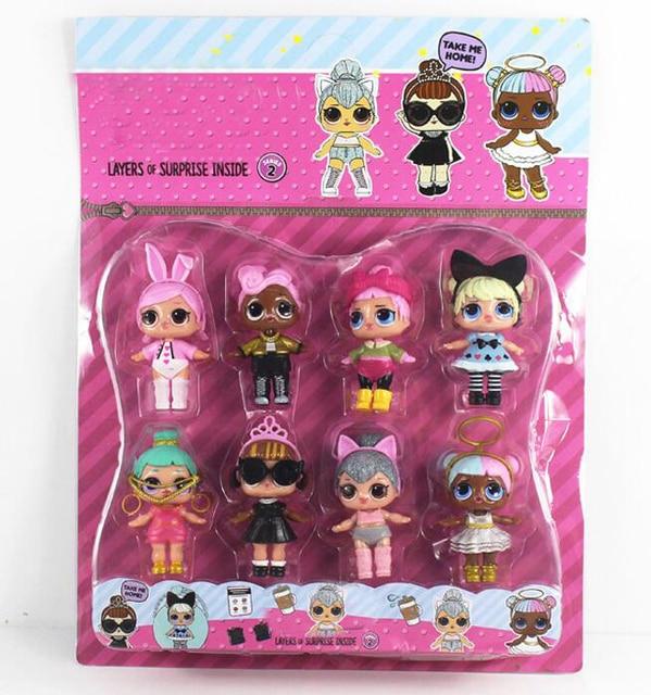 8-9 см 8 шт./компл. Boneca LOL кукла маленькая Игрушечные лошадки Куклы surpresa фигурку Игрушечные лошадки для детей Штаны для девочек с рождественским изображением подарки на день рождения