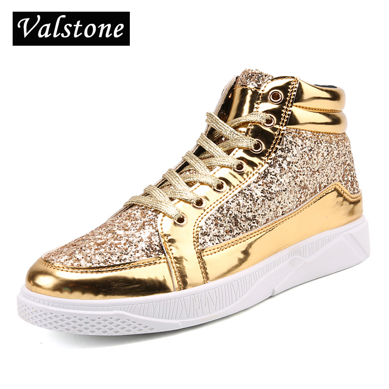 Valstone 2018 Men Hip Hop shoes leather casual shoes Gold fashion sneakers silver high tops Male black Vulcanized shoes sizes 45 gram epos men casual shoes top quality men high top shoes fashion breathable hip hop shoes men red black white chaussure hommre