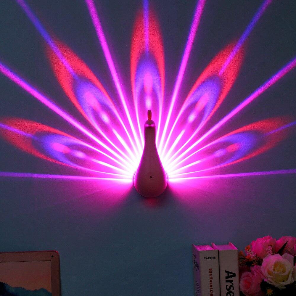 Светодиодный удаленного Управление 3D Павлин проекции света USB декоративные красочные синхронизации настенный светильник Спальня малыш по...