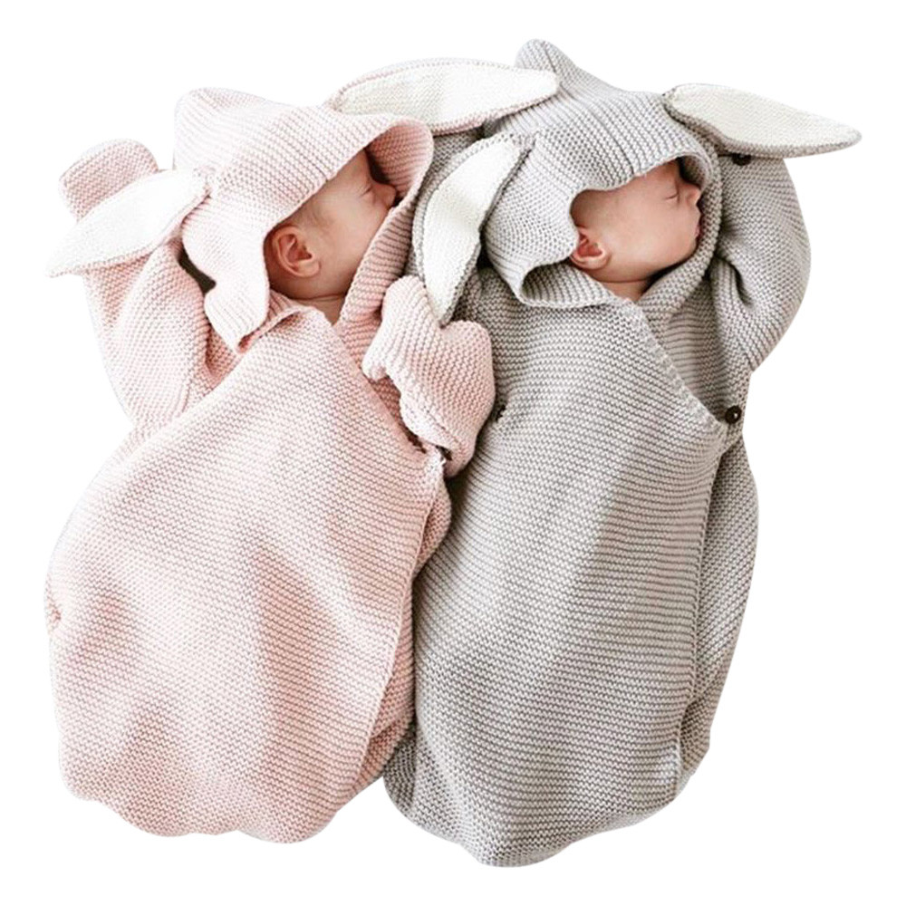 Cute Rabbit Baby Stroller Sleeping Bag Spring Autumn Newborn Infant Knitted Swaddle Wrap Nest Envelopes For Toddler Kid twins