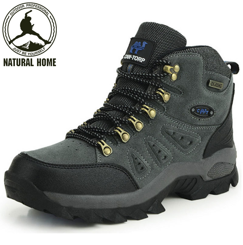 ФОТО NaturalHome Men Women Waterproof Athletic Sports Leather Sneakers High-Top Outdoor Trekking Hunting Hiking Shoes Boots