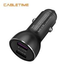 Cabletime автомобиля Зарядное устройство 2 Порты и разъёмы USB быстро Зарядное устройство QC 3,0/2,0 2.4A Smart 3 для Универсальный телефон площадку для huawei и Samsumg N111
