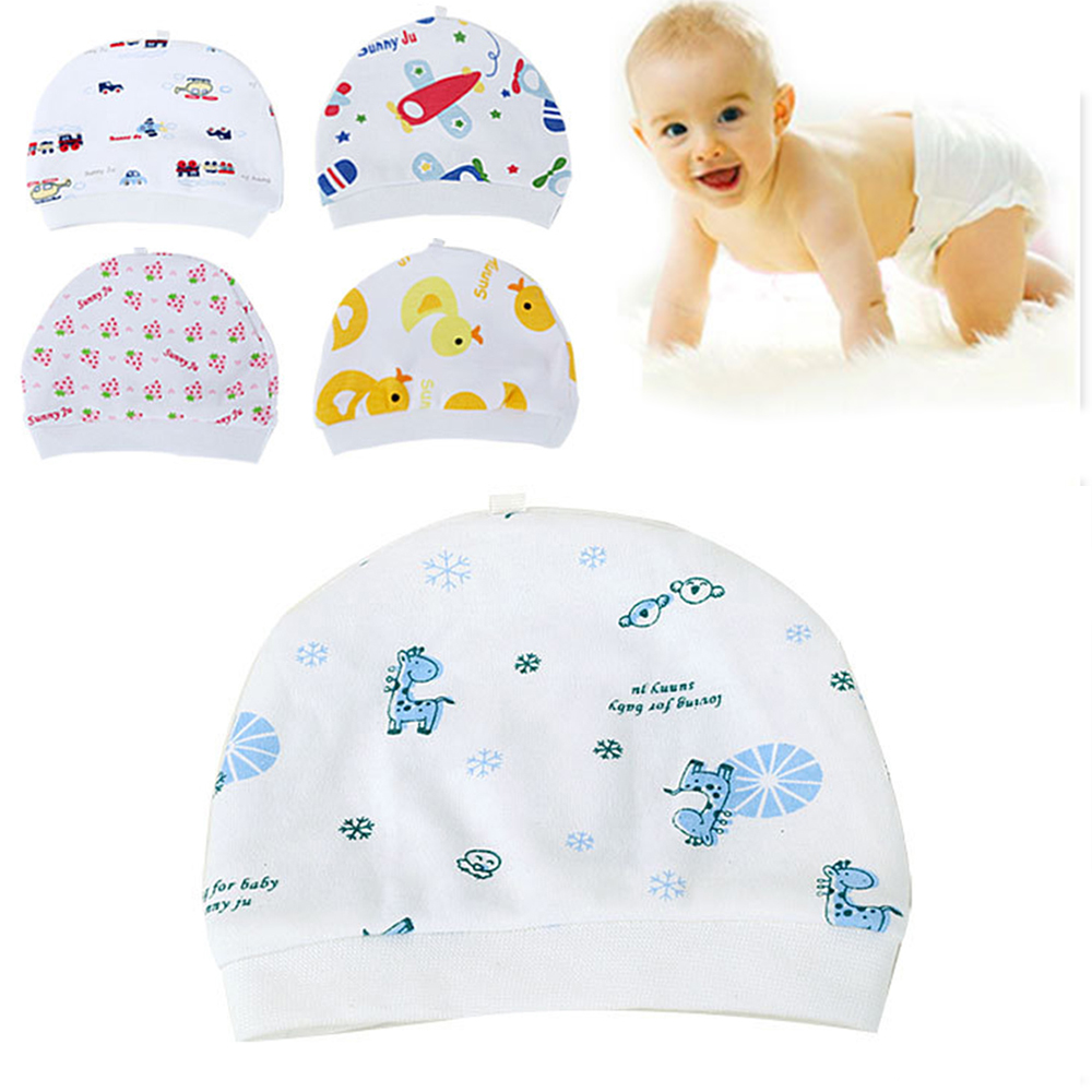 Hot Selling Cartoon Pattern Baby Hats Soft Comfortable Cotton Elastic Beanies Winter Warm Girl Boy Toddler Infant Kids Cute Hat