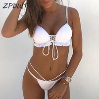 ZPDWT Simple White Bikini Push Up Bathing Suit Thong Swimming Suit For Women Swimwear Bandage Brazilian