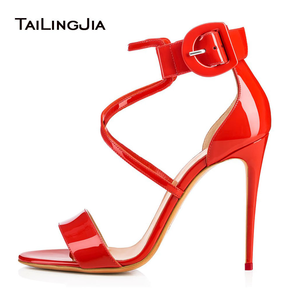 Sexy Cross Tied Strappy High Heel Sandals with Buckle Shiny Red Dress Shoes Women Black Summer Heels White Wedding Shoes 2018