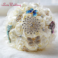 2017 New Arrival Ivory Beaded Brooch Silk Bride Wedding Bouquet Bridesmaid Artificial Flower Customizable bouquet de mariage