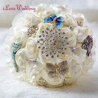 ILoveWedding Ngà Beaded Brooch Silk Cô Dâu Đám Cưới Bouquet Bridesmaid Hoa Nhân Tạo Tùy Chỉnh bouquet de mariage