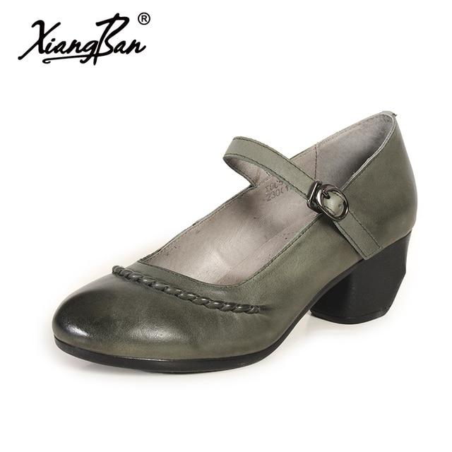 Mary Comfortable Shoes Retro Handmade High Leather Women Heels Jane CQBWrxEode