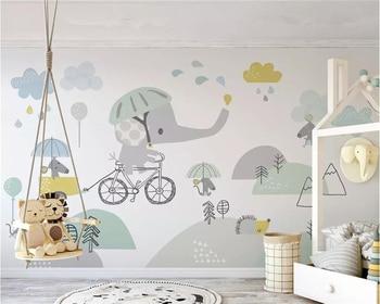 Papel pintado personalizado beibehang, foto mural, bonito dibujo animado, elefante montando en bicicleta, hámster, nube, Fondo de sala para niños, pared