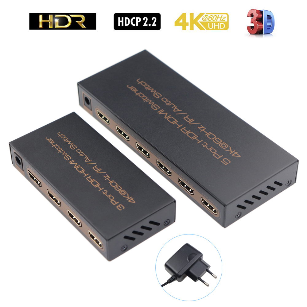 <font><b>4K</b></font>@60Hz <font><b>HDMI</b></font> Switch 5x1 5 In 1 Out or 3x1 3 In 1 Out <font><b>HDMI</b></font> 2.0 Switcher with IR Remote Support HDCP <font><b>2.2</b></font> UHD HDR 3D 1080P image
