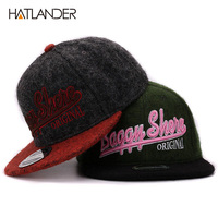 High Quality Wool Cotton Winter Snapback 3D Embroidery Hip Hop Mens Flat Brim Baseball Cap For