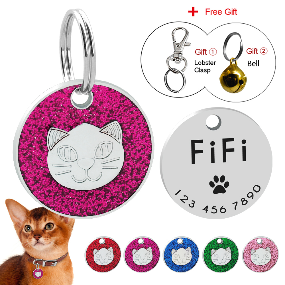 Cat Dog Id Tag Engraved Pet Collar Accessories Cats Puppy Anti-lost Customized Id Name Tags With Bell