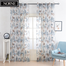 NORNE Burnt-out Flower Pattern Modern Tulle Curtains for Living Room Transparent Window Drapes Sheer Curtain for the Bedroom norne 30