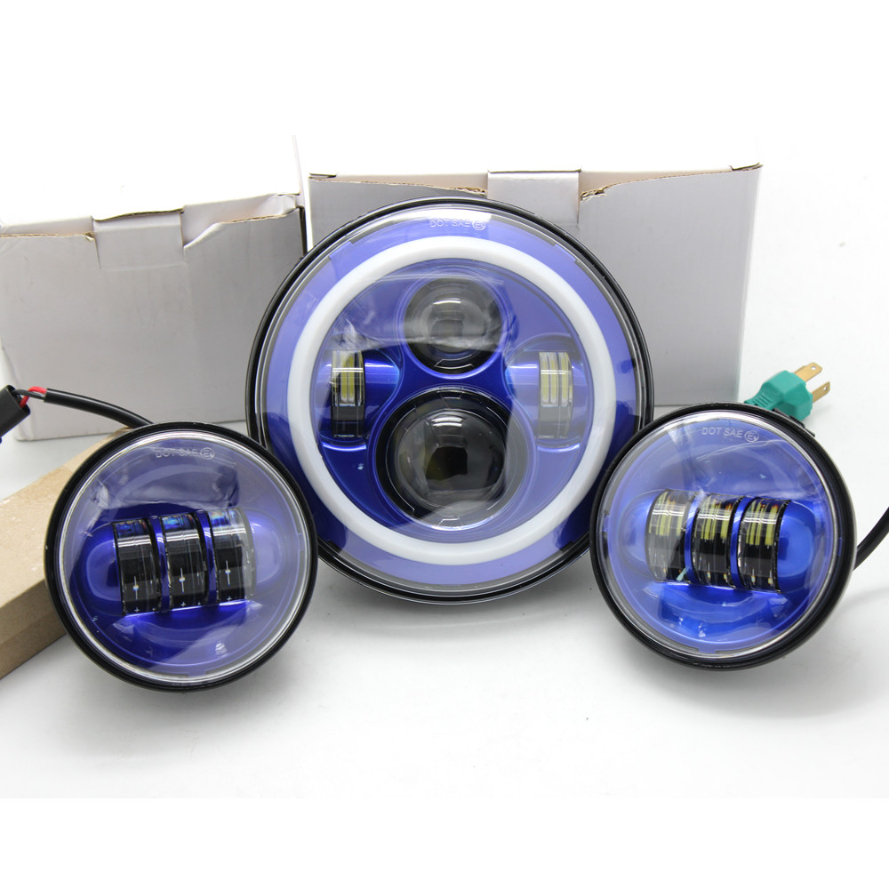7 Inch Blue Harley Daymaker LED Headlight DRL Halo Ring + 4.5