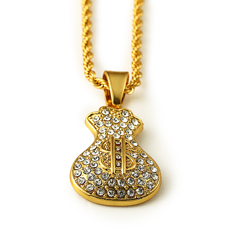 US $7 68 22% OFF|Alloy Golden Dollar Sign Necklace Star Jewelry Men Hip Hop  Charm Rope Chain Hiphop Golden 31 5in Long Necklace-in Pendant Necklaces