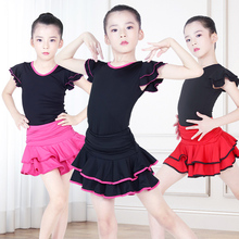 Children Short Sleeve Latino Skirt Girl Dance Performance Costumes Kids Latin Dress