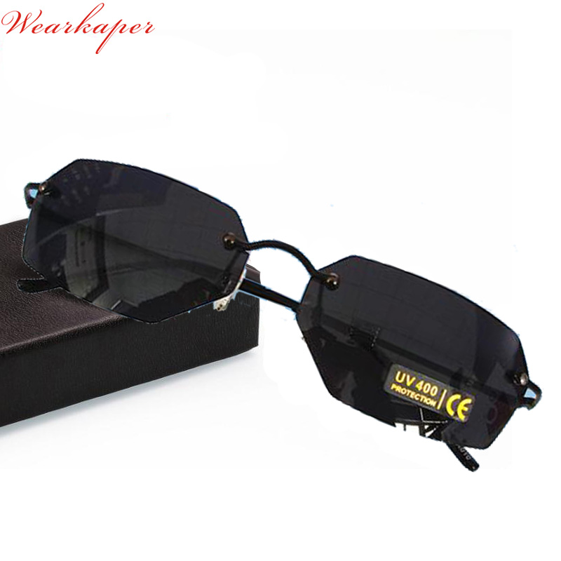 27743e1e77beb WEARKAPER Nova Liga de Titânio Sem Aro Óculos De Sol Dos Homens Clássicos  Mulheres Steampunk Óculos