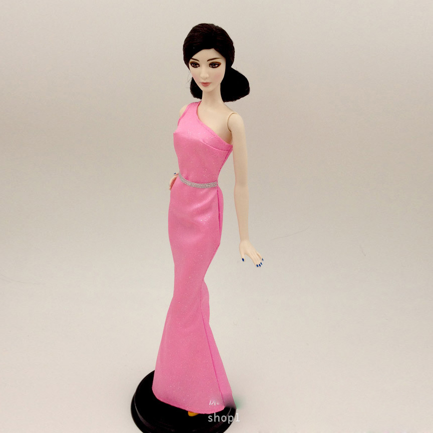 Unique dolls costume For Barbie Pink Silver Glitter BB003 Gown Occasion Robe