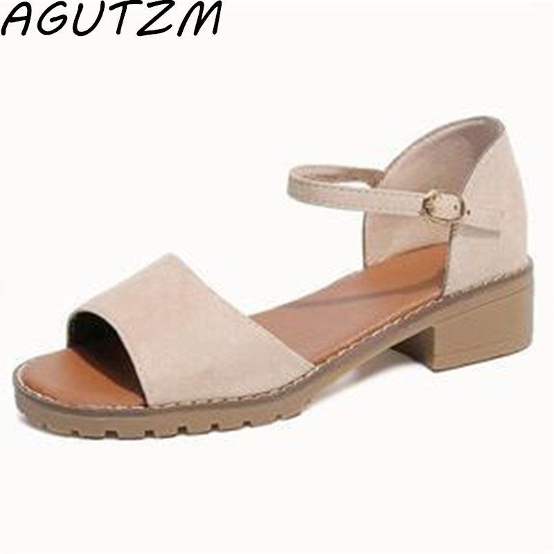 AGUTZM 2018 New Plus Size Suede Buckle Strap Square Mid Heels Summer Style Womens Sandals Casual Cheap Shoes Woman