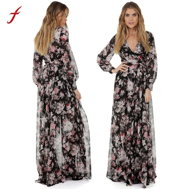 Plus Size Fashion Dresses For Women Long Sleeve V Neck Chiffon