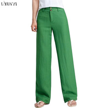 Loose Linen  Wide leg  High Waisted Straight Pants