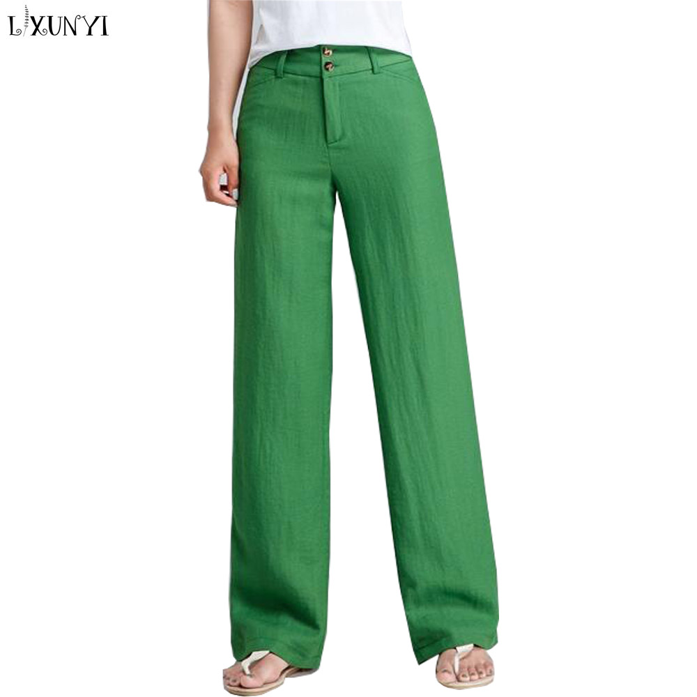 LXUNYI 2019 Summer Loose Linen Pants Women Wide leg Casual Trousers High Waisted Straight Pants Plus Size Green Gray Red Beige