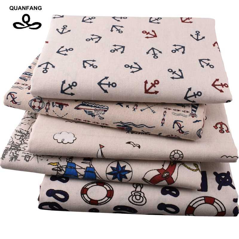 Quan fang marinha série tecido de linho algodão para diy estofando costura sofá mesa pano cortina saco, material almofada meio metro