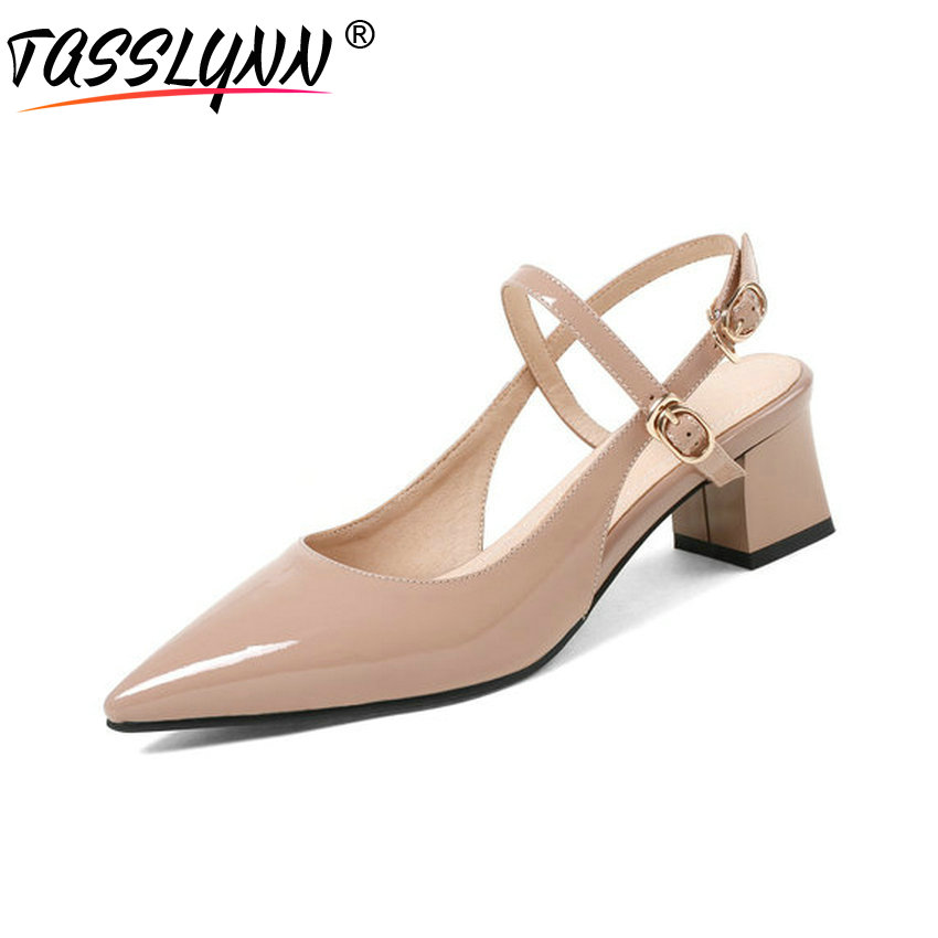 TASSLYNN 2018 Women Pumps Square Med Heels Pointed Toe Buckle Strap Cow Patent Leather PU Slingback Pumps Shoes Size 34 39